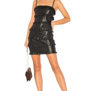 Bailey44 Dark Wave Faux Leather Ruffle Dress Black